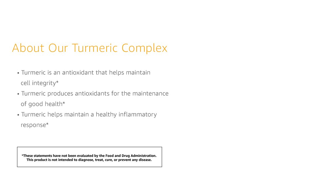 Amazon Elements Turmeric Complex with Black Pepper and Ginger, Curcumin Supplement, 65 Capsules 3