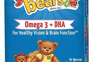 Yummi Bears Omega 3 + DHA Gummy Vitamin Supplement for Kids, 90 Gummy Bears