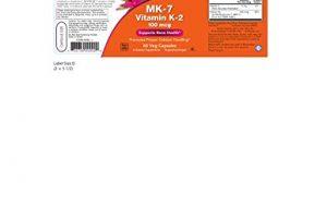 Now Foods Vitamin K-2 (MK7) Veg Capsules, 100 mcg, 60 Count, Pack of 2