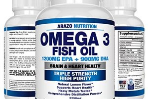 Omega 3 Fish Oil 2250mg   HIGH EPA 1200MG + DHA 900MG Triple Strength Burpless Capsules   120 Pills   Arazo Nutrition