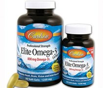Carlson Labs Elite Omega-3, 800 mg, Gems Fish Oil Soft Gels, Natural Lemon Flavor, 120 Count