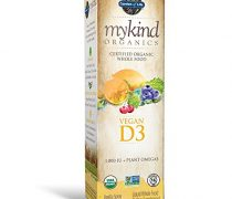 Garden of Life D3 Vitamin – mykind Organic Whole Food Vitamin D Supplement with Plant Omegas, Vegan, Vanilla, 2oz Liquid Spray