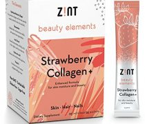 Zint Collagen Powder Peptides Beauty Water (Strawberry): Hydrolyzed Marine Collagen + Acai, Hyaluronic Acid, Glucosamine, Vitamin C – Sugar-Free, Anti-Aging Protein Drink, 30 Packets