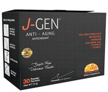 J-GEN Orange Powder Drink Mix – Ultimate Anti-Aging, Antioxidant Formula with Collagen, Resveratrol, Hyaluronic Acid, Magnesium, Vitamin C 1000mg – Supports Hair, Skin, Nails and Joints – 30 Sachets